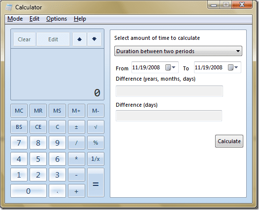 Windows 7 Date Calculation Template in Calculator