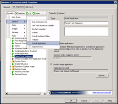 Microsoft Deployment Toolkt (MDT) 2010 Add New Task Sequence Install Application Snapshot