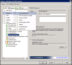 Microsoft Deployment Toolkt (MDT) 2010 Add New Task Sequence Run Command Line Snapshot