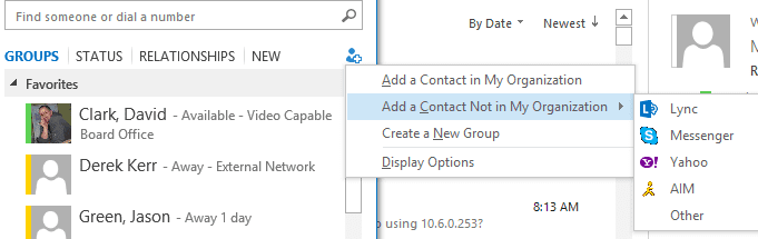 Add a new external contact in Lync 2013, shows Messenger with a Skype Logo